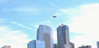 Drone over the city.